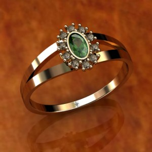0750 18k Gold Ring with Natural Emerald Stone